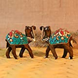 Collectible India Wooden Handcrafted Set of 2 Desk Showpiece Camel for Table Top Decoration and Gift...