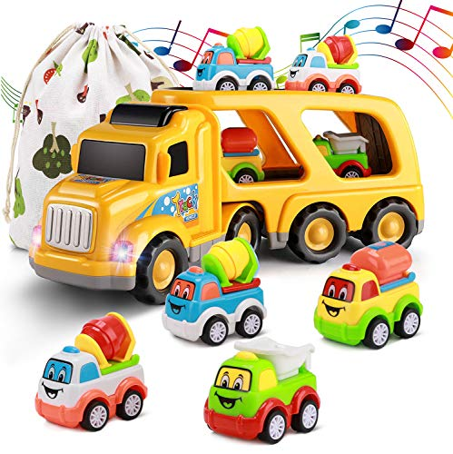 Rubikliss Car Toys for 1 2 3 4 5 6 Year Old Toddler Kids Boys and Girls 5 in 1 Construction Truck Set Real Sound amp Bright Flashing Light Push and Go Car Play Vehicles Toys Storage Bag Included