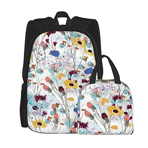 ATUEMACO Mochila de prado de flores silvestres de campo para la escuela, laptop College Backpack 2 pieza del juego para niños y niñas (bolso de la escuela + combinación de bolsa de almuerzo)