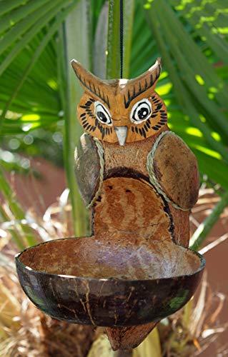 Sunlover Handgefertigter Fair Trade Bambus- und Kokosnuss-Vogelfutterspender – Eule
