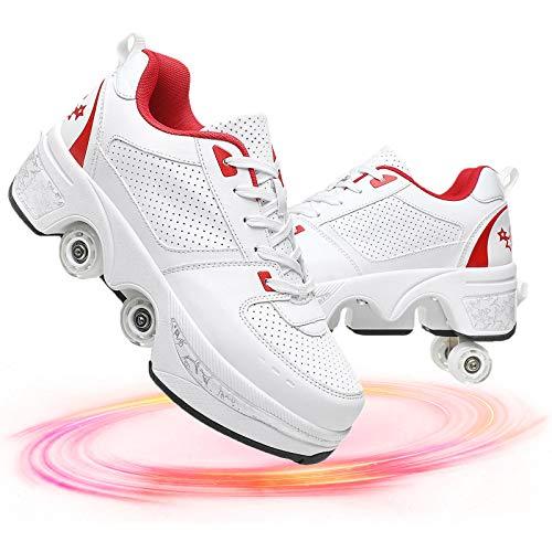 YUNWANG Multifuncionales 2 En 1 Patines De Ruedas con Doble Fila De Deformación Cuatro Ruedas Zapatos para Caminar Patines En Paralelo Invisibles