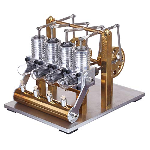 CT-Tribe Stirling Engine Model, Domineering 4 Cylinder Row Balance Stirling Engine Model, Stem Toy and Science Engine Kit for Over 14-year-old Teenagers and Adults - Mirror Polished Version