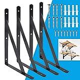 BUZIFU 4 Pezzi Staffe per Mensole Pesanti 200mm x 120mm Supporti per Mensole Triangolare Staffe per Mensole Angolari Supporto a Parete Scaffale con Viti (Nero)