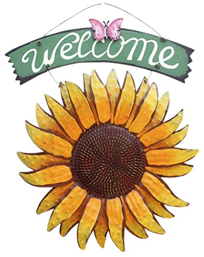 """QHZHANG 11.8' X 15"""" Vintage Hanging Butterfly Sunflower Welcome Sign for Door Hanging (Sunflower)"""