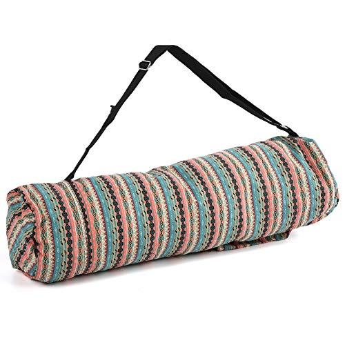 Impreso solo hombro bolsa portátil ejercicio Yoga Mat almacenamiento bolsa de transporte correa ajustable tipo 18 x 68 cm