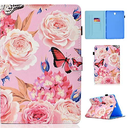 WVYMX Case for Galaxy Tab S4 10.5 T830 Full-Body Protective PU Leather Flip Cover with Auto Sleep Wake Stand Cases for Samsung Galaxy Tab S4 10.5 Inch 2018(SM-T830/T835/T837) Flower Butterfly