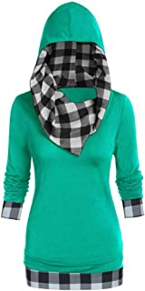 Women Christmas Plus Size Plaid Print Hooded Tops Convertible Collar Sweatshirt L-5XL