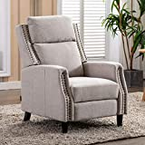 Artechworks Soft Fabric Manual Pushback Recliner Chair for Living Room - Single Sofa Home Theater Seating for Small Spaces - Comfortable Bedroom & Living Room Chair Reclining Sofa, Black & White