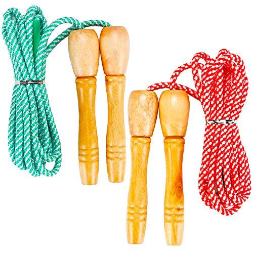 FANDE Springseil, Seilspringen Fitness, Holzgriff Springseile, Einstellbare Baumwolle Springseil, Ideal für Fitness Training/Spiel/Fett Brennen Übung/Spiele im Freien