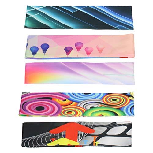 Minkissy 5 Stück Yoga Elastisches Stirnband Eis Seide Breiter Schweiß Absorbieren Kopfwickel Kopfschmuck Haarschmuck für Radsport Laufsport (Gemischte Farbe)