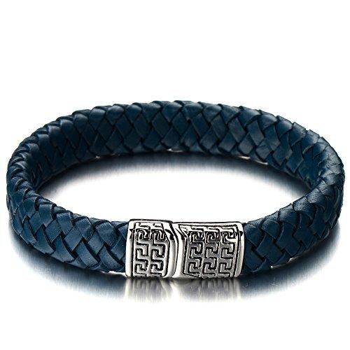 COOLSTEELANDBEYOND Elegant Geflochtene Lederarmband Herrenarmband Damen-Armband Blaue Echtes Leder Armreif mit Edelstahl Magnetverschluss