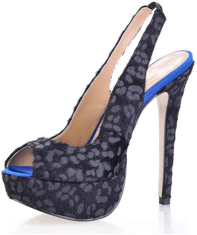 GHFJDO Frauen Peep Toe Stiletto High Heels, Damen Plateau Heels Pumps Wildleder Knchelriemen Partei Sandalen Schuhe Gre,schwarz,39EU