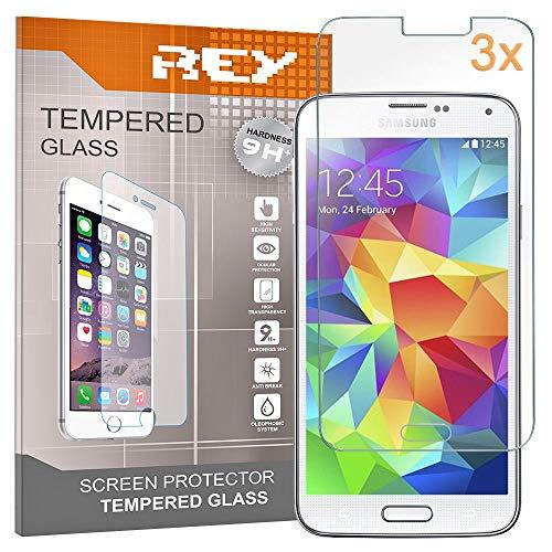 REY 3X Protector de Pantalla para Samsung Galaxy S5, Cristal Vidrio Templado Premium