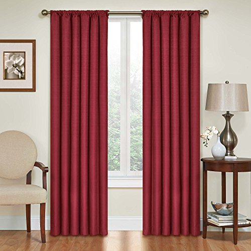 Eclipse Kendall Thermal Insulated Single Panel Rod Pocket Darkening Curtains for Living Room, 42' x 54', Ruby