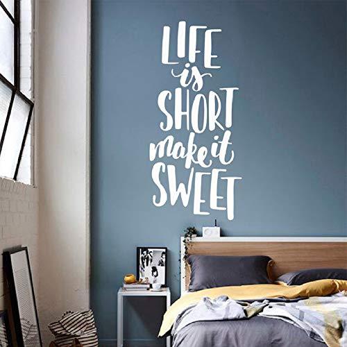 wanmeidp Das Leben ist kurz Machen es süß Zitate Wandaufkleber Familie Zitate Wandtattoos Für Zuhause Schlafzimmer Wohnzimmer Liebe Worte kunstwand 2 125x57 cm