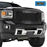 EAG Replacement Upper Grille ABS Front Hood Grill - Matte Black - with Amber LED Lights Fit for 15-19 GMC Sierra 2500/3500