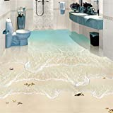 Rureng Moderno Y Simple Playa Ola Del Mar Foto Papel Mural 3D Azulejos Para El Suelo Murales Pegatina Baño Impermeable Autoadhesivo Vinilo 3D Wallpaper-280X200Cm