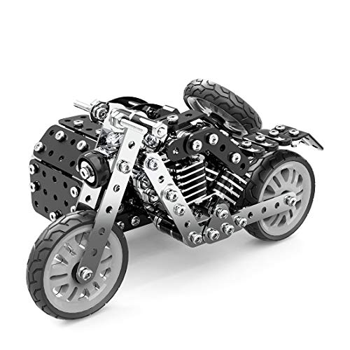 Fujinfeng 3D Metal Model Kits for Adults, 377 Pieces Side Tricycle Assembly Kit 3D Metal Jigsaw Puzzle for Adults