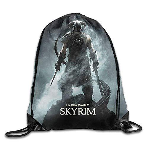 Etryrt Turnbeutel/Bedruckte Sportbeutel, Premium Drawstring Gym Bag Rucksack, The Elder Scrolls Skyrim Logo Drawstring Backpack Sack Bag for Gym Sport or Travel Storage