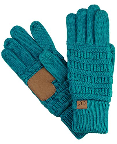 C.C Unisex Cable Knit Winter Warm Anti-Slip Touchscreen Texting Gloves, Teal