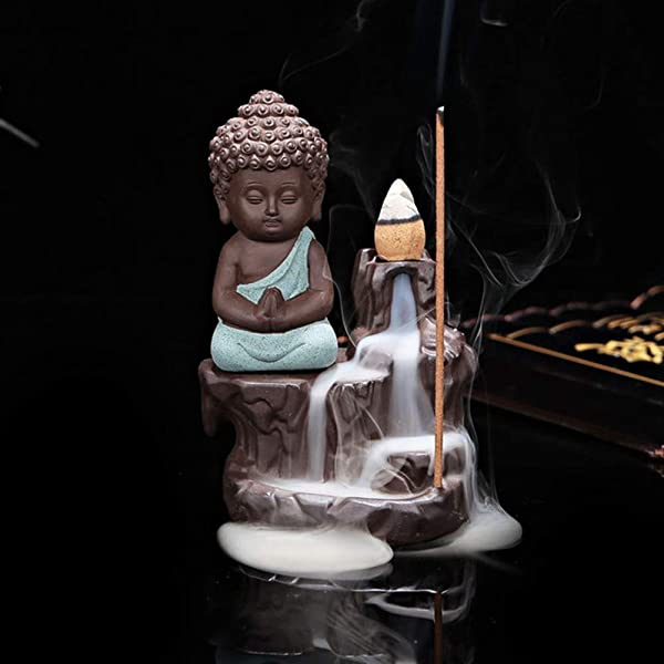BERTERI The Little Monk Censer Creative Home Decor Small Buddha Incense Holder Backflow Incense Burner Use In Home Office Teahouse