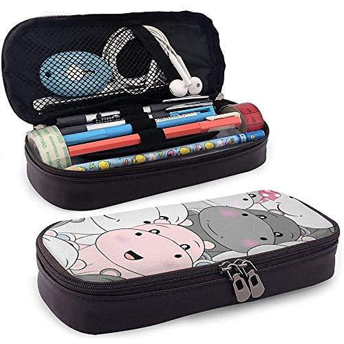 DJNGN Lindo bebé hipopótamo de cuero estuche para lápices bolsa monedero bolígrafo bolsa estacionaria bolsa de maquillaje cosmético