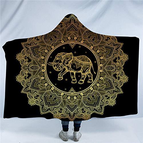 Deken beddengoed Outlet Mandala met capuchon deken Elephant Star Moon Sherpa fleece draagbare deken zwart goud Throw deken voor slaapbank 127(H) x152(W) A