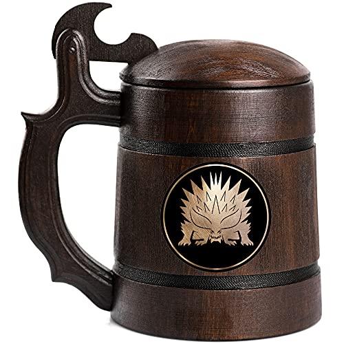 Nergigante Beer Stein Monster Hunter World Wooden Beer Mug, MHW Beer Stein, Gamer Gift, Gamer Tankard, Gift for Men, Gift for Him