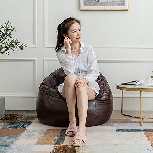 WyaengHai Sofa lederen zitzak meubel kruk voor het videospelen of ontspannen in drie kleuren, beton stoel met massief houten poten 75x87x6cm bruin