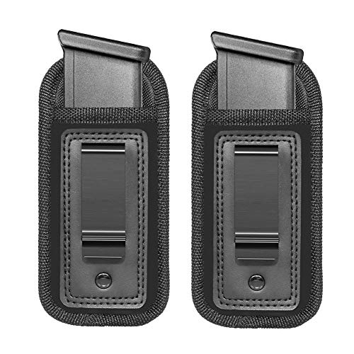 Anjilu 2 Piece Universal Magazine Holster IWB Clip Concealed Carry 9mm .40 .45 | Mag Holster For Glock 19 43 17 Sig 1911 S&W M&P | Fits Any 7 10 15 Round Clips For All Pistols | Gun Ammunition Holster