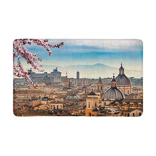 Kanaite schöne europäische Stadtansicht von Rom von Castel Sant 'Angelo Fußmatte rutschfeste Innen- und Außentürmatte Teppich Wohnkultur, Fußmatten Gummiunterlage,