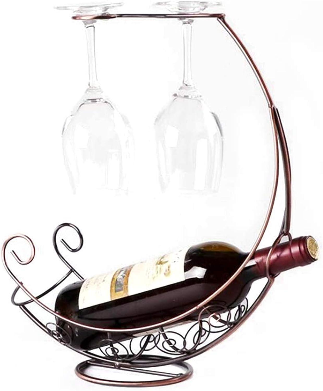 Boat-Shaped Wine Rack Decoration Wrought Iron Bottle Shelf Wine Glass Rack Upside Down (color   Bronze) (color   Bronze, Size   One Size)