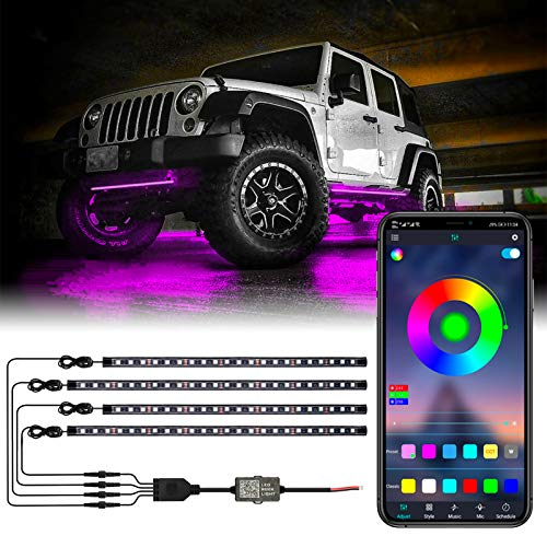 LED Car Underglow Lights, 4pcs Exterior Car LED Strip Lights Multicolor Neon Accent Light Kits Under Lights for Car Sync Music and APP Control RGB Chasing Light (2 x 24 inch + 2 x 35 inch)