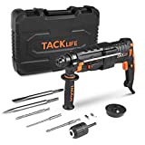 TACKLIFE 7.0 Amp Rotary Hammer Drill, 5 Functions in 1 Knob, 1-Inch SDS-Plus, 2.8J, 2 Variable Speeds 3200 RPM, 6000BPM, Safety Clutch, Ideal Power Drill for Concrete, Metal, Wood, Masonry - LRH01A