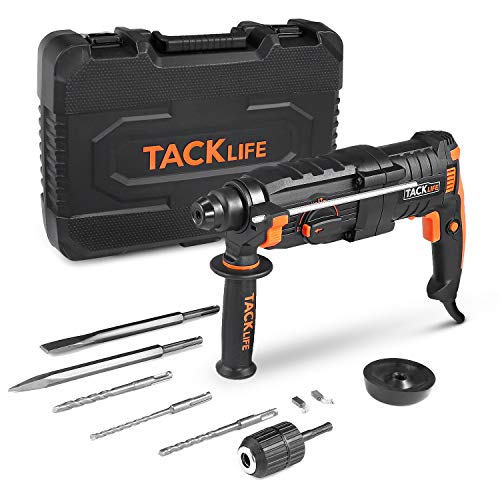 Perforateur, TACKLIFE 800W Marteau perforateur, 2,8 J, 6000 BPM, 3200RPM, Mandrin SDS Plus 5 Modes, Safty Clutch,...