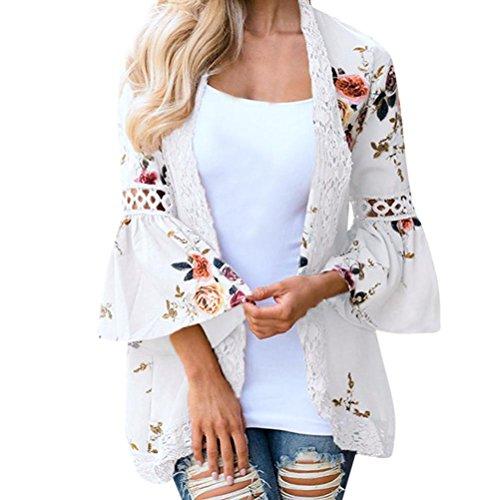 DEELIN Chaqueta De La Chaqueta del Kimono De La Chaqueta Floja De La Tarjeta De La Flor De La Moda De Las Mujeres Ocasionales Florales De La Chaqueta (S, Blanco)