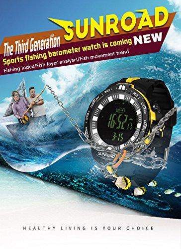 Sunroad nueva llegada Deportes Pesca Barómetro reloj fr861con reloj de alarma Pesca índice pantalla capa de peces reloj de análisis