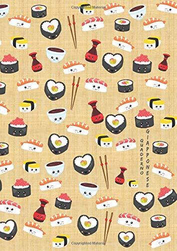 Quaderno Giapponese: Quaderno di pratica scrittura a mano giapponese: scrittura verticale. Genkouyoushi: taccuino giapponese Hiragana, Kanji, Katakana ... copertina del libro con motivo kawaii sushi
