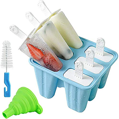 Wuudi Eislutscherformen,6 Eislutscher,Gefrorene EIS-EIS am Stiel-Hersteller in Lebensmittelqualität mit Nicht verschütteter Deckelreinigungsbürste und Silikon-Falttrichter