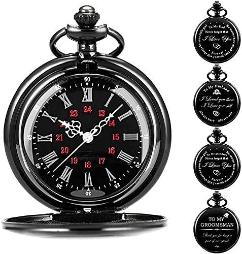 DNGDD Reloj de Bolsillo Reloj de Bolsillo Grabado Personalizado, Graduación Fin de período Gracias Regalo del Maestro, Cumpleaños, Regalo de Boda Mejor Hombre Acomodador, Comunión, Ahijado, Ba