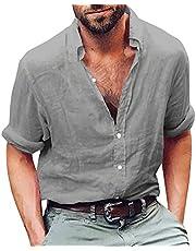 Enjoybuy قميص رجالي من القطن والكتان بياقة شريطية كاجوال بأكمام طويلة فضفاض صالح الصيف شاطئ تي شيرت