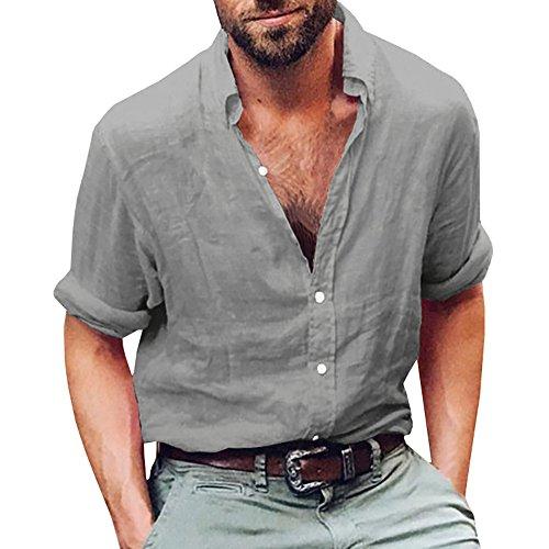 Gemijacka Leinenhemd Herren Regular Fit Button-down Sommerhemd Langarm & Kurzarm Herren Hemd Shirt Freizeithemd Herren, 1 - Grau, XXL