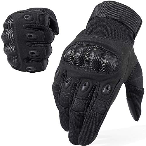 WTACTFUL Touchscreen Motorcycle Tactical Full Finger Gloves for Airsoft Paintball Cycling Motorbike ATV Hunting Hiking Riding Racing Climbing Operating Work Outdoor Sports Gloves Size Large Black