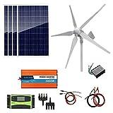 Fangfang Generatore a turbina eolica, 1200W Vento Solare Kit Ibrida: 4pcs Pannelli solari 100W Poly + turbina 800W generatore di Vento + 2000W off-Grid Inverter for Caricabatterie