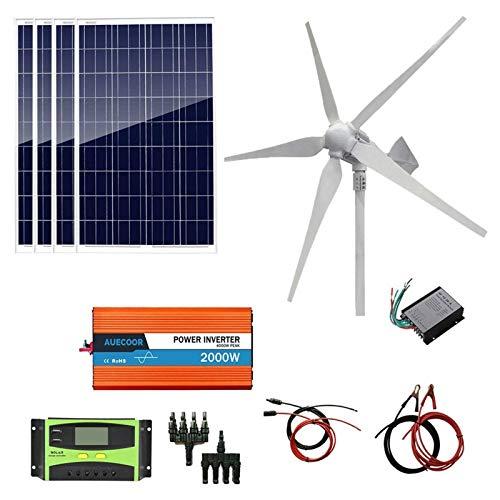 Fangfang Turbina de Viento, 1200W Viento Solar híbrido del Kit: 4pcs Paneles solares 100W Poli + 800W de la turbina del generador de Viento + 2000W inversor de la Rejilla for Cargar la batería,Kit