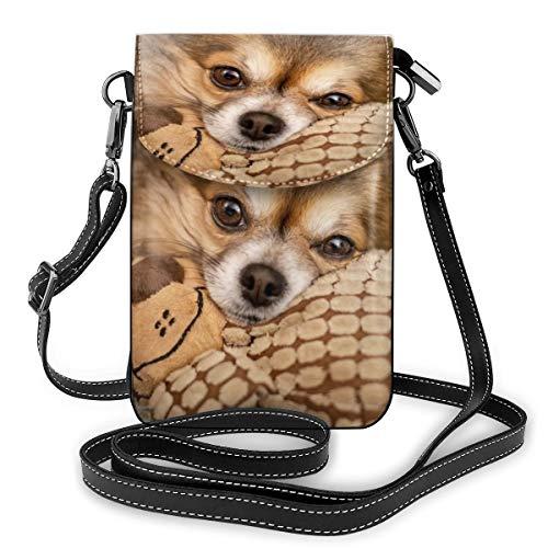 Bruine korte gecoate hond leggen op pluche speelgoed kleine Crossbody zakken Crossbody mobiele telefoon portemonnee - Vrouwen PU lederen handtas met verstelbare riem voor dagelijks leven