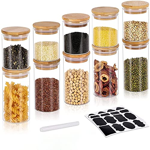 GoMaihe 10 Tarro de Vidrio de Almacenamiento, 250ML+350ML Tarros de Cristal para Conservas Envases Cristal Alimentos, Tarro de Granos Café Espaguetis Recipiente Hermetico Tarros de Cristal con Tapa