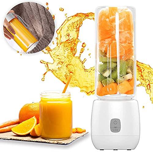 Exprimidor eléctrico de taza de agua mini portátil USB recargable licuadora con 6 cuchillas 400 ml licuadora personal para viajes Spot Home Office y aire libre perfecto para fruta batido A