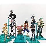 Lianlili Estatua de Juguete Modelo de Juguete de una Pieza Exquisito Anime Decoración Decoración/Q Edition Luffy/Sauron/Nami/Robin/Choba/Brook / 6 Set