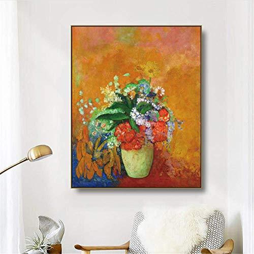 Crazystore Leinwand Kunstwerk Malerei 50x70cm ohne Rahmen 《Flasche Blume》 Odilon Redon Kunstplakat Bild Wanddekoration Moderne Wohnkultur für Wohnzimmer Büro